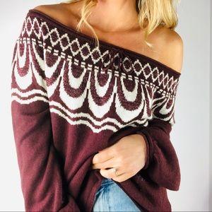 ANTHROPOLOGIE FIELD FLOWER | Off Shoulder Sweater